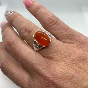Enhanced Red Onyx Ring in Sterling Silver